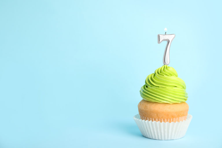Cupcake with a number seven candle